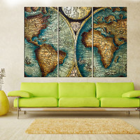 antique world map canvas print, vintage world Map wall art canvas, extra large wall art for home decor No:iki84