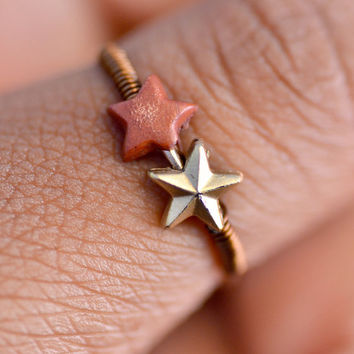 Brown, Wire Wrapped Star Ring with Wood & Acrylic Beads, Size 7.5, Womens Jewelry, Teen Jewelry, Delicate Jewelry
