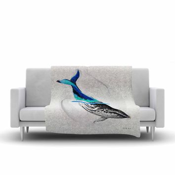 "Ivan Joh ""Whale"" Blue White Illustration Fleece Throw Blanket"