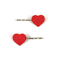 Set of 2 raspberry pink hearts bobby pins with candy pink doodles, romantic painted plastic hair pins (recycled CD), Valentine's day