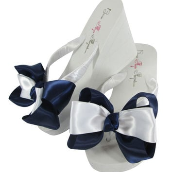 White and Navy high 3.5 inch Bride & Bridesmaid Bow Flip Flops with low wedge or high inch