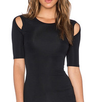 Fifth Sleeve Top with Cut-out Shoulder