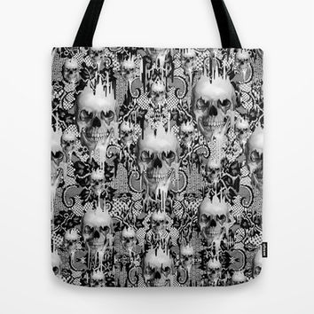 Victorian gothic lace skull pattern Tote Bag by Kristy Patterson Design