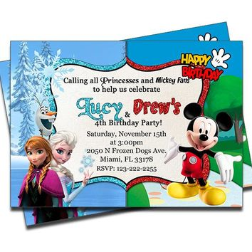 Disney Frozen and Mickey Mouse - Double Birthday Invitations