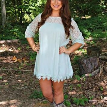 The Secret Life Tunic Top in Mint is perfect for any affair! This Tunic Dress features lace chest, shoulders & sleeves with a gauze body & crochet detailing at the bottom. Add your favorite pair of heels or Jack Rogers to create a perfect look!