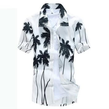 Palm Tree Tree Hawaiian Button Down Polo Shirts