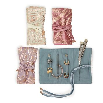GOLD METTALIC VELVET JEWELRY ROLL ASSORTED 4 COLORS