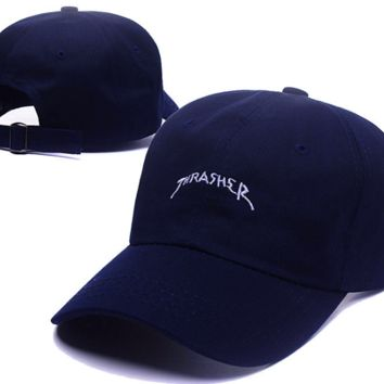 Trendy Thrasher Embroidery Navy Blue Outdoor Baseball Cap Hats