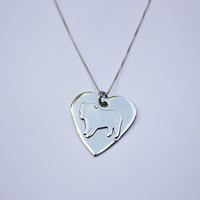 Sterling Silver English Bulldog Necklace, bulldog charm, personalized engraved necklace, engiish bulldog pendant