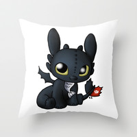 Chibi Toothless Throw Pillow by Katie Simpson