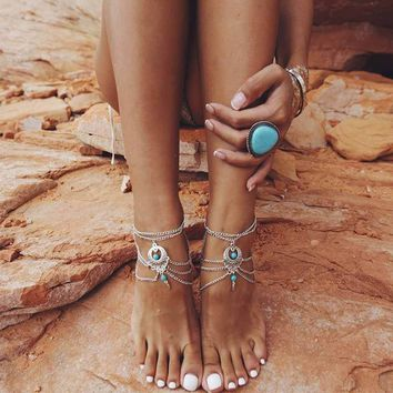 TOMTOSH 2017 Fashion Boho Ethnic blue stone Beads Anklets Chic Tassel Foot Chain Anklet Body Jewelry Anklets For Women