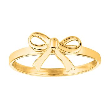 14K Yellow Gold Bow Design Ring, Size 7