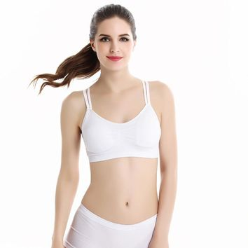 Lady Women Sports Yoga Athletic Solid Wrap Chest Strap Vest Tops Bra WH