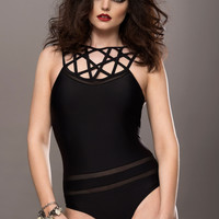 Black Caged Look One-Piece Swimsuit with Mesh Details
