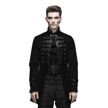 Devil Fashion Gothic Vintage Men's Victorian Jackets Steampunk Black Flocking Pattern Single Button Coats Casual Outerwear