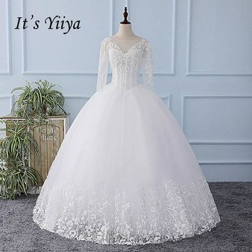 It's YiiYa White Half Sleeves Illusion Sexy Wedding Dress Backless Tulla Bride Wedding Gowns Vestidos De Novia Casamento XL604