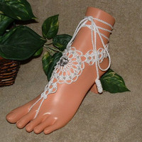 Crochet Doves in Heart Bridal Barefoot Sandals, Anklet, Bridal, Wedding, Shoes, Clothes, Accessories, Footwear, Beach Jewelry