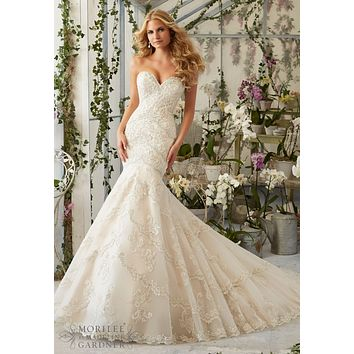 Mori Lee 2801 Strapless Lace Fit & Flare Wedding Dress