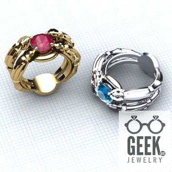 Quad Super Sonic Solitare Ring- Gents Created sapphire PLEASE CONFIRM SIZE