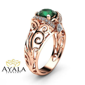 Emerald Filigree Engagement Ring 14K Rose Gold Art Deco Ring Emerald with Trilliant Diamonds