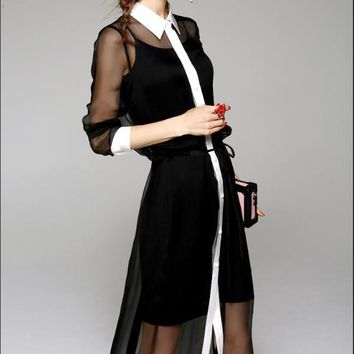 Waist Tie Chiffon Shirt Dress