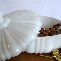 Vintage Milk Glass Candy Dish Serving Piece by ToucheVintage