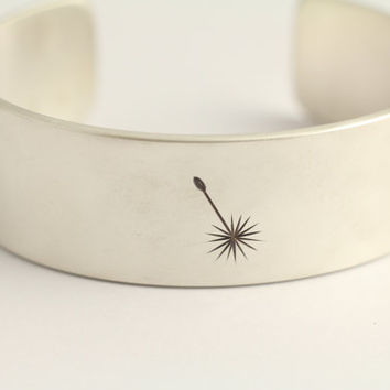 Cuff Bracelet with Dandelions in Sterling Silver by ashhilton