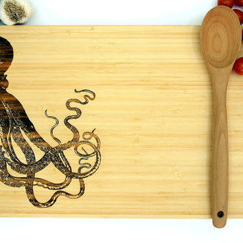 Octopus Cutting Board (Pictured in Natural), approx. 12 x 16 inches, Nautical, laser engraved, bamboo wood, Wedding Gift or Anniversary gift