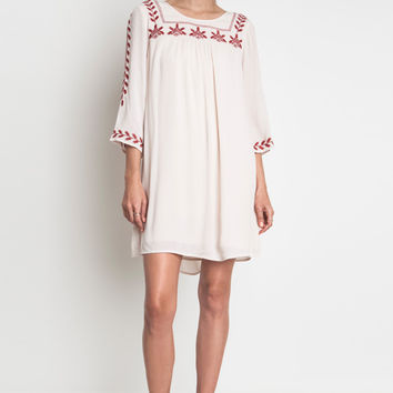 It's perfect gauze fabrication dress for your summer day to night, features a round neckline, rusty color embroidered patter at neckline and sleeves, thanks to the easy and breezy crinkle gauzy fabric to keep your summer day and night cool, three quarter s