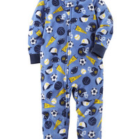 1-Piece Sports Fleece Footless PJs