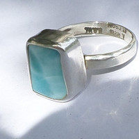 Sterling Silver Larimar Ring Caribbean Blue Stone  Any size Handcrafted