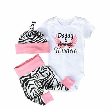 "Newborn Baby Girl 3Pc Set ""Daddy & Mommy's Miracle"" with Angel Wings and Zebra Striped Onesuit, Hat and Pants Set"