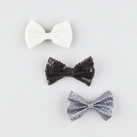 Full Tilt 3 Piece Chiffon/Glitter/Sequin Bow Hair Clips Black Combo One Size For Women 27049614901