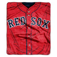 Boston Red Sox MLB Royal Plush Raschel Blanket (Jersey Series) (50in x 60in)
