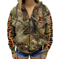Zipper Hoodie - Realtree APG Camo with Orange Logo: Hunting Apparel | Hunting Clothes | Shirts | Stickers | Decals