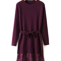 Purple Belted Waist Crochet Lace Panel Cable Dress