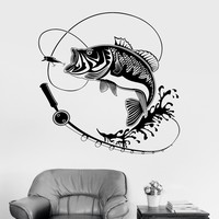Vinyl Wall Decal Fish Fishing Rod Hobbies Man Stickers Mural Unique Gift (ig3597)