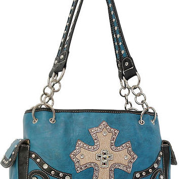 Cross Leather Designer Fashion Bling Western Stitch Rhinestone Stud Trendy Purse Handbag Blue Black