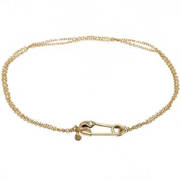 Solid 14 Karat Gold and Diamond Safety Pin Bracelet