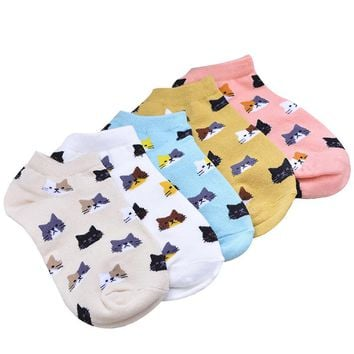 Cartoon Cute Cat Face Girls Ankle Socks Funny Crazy Cool Novelty Cute Fun Funky Colorful