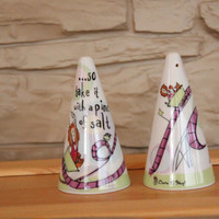 Fantastic Ceramic Born To Shop, Johnson Brothers, England Pottery, Salt and Pepper Shakers, Table Decor, Kitchen Decor
