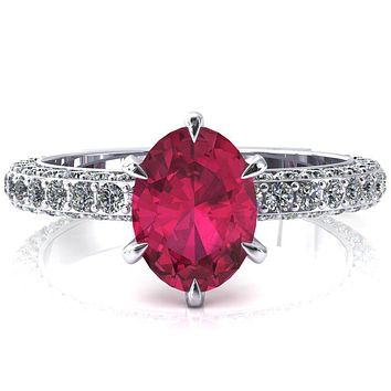 Vanessa Oval Ruby 6 Claw Prongs 3/4 Pavé Eternity Engagement Ring