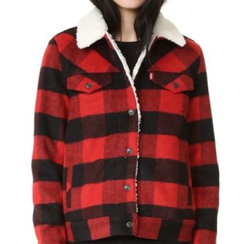 Wool Boyfriend Sherpa Trucker Jacket