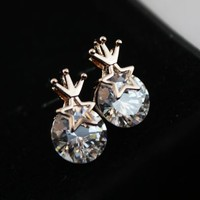 Star Crown on Rhinestone Earrings