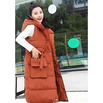 Womens Caramel Hooded Long Puffy Winter Vest Coat