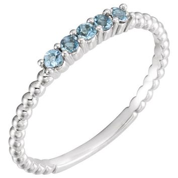 Aquamarine and Diamond Stackable Ring
