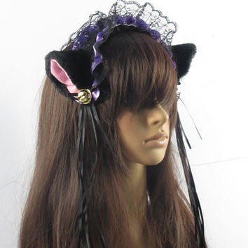 With Bells, purple LOLITA maid lace ,White and light pink Fox ears CAT ears HEADBAND ,Long Fur Ears, headband Costume Cosplay