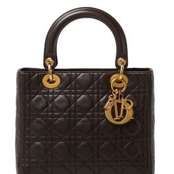 Christian Dior Women's Brown Cannage Quilted Lambskin Lady Dior Medium