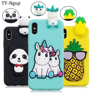 Coque for iPhone X iPhone XS Max Case Cover Capa 3D Unicorn Panda Phone Case on for Funda iPhone X XR XS Plus Case Accesorios