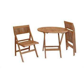 "Anderson Teak Windsor 31"" Round Folding Picnic Table Set With 2 Chairs"
